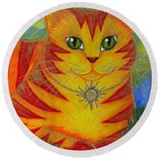 Rajah Golden Sun Cat Round Beach Towel