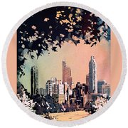 Round Beach Towel featuring the painting Raleigh Skyline V by Ryan Fox