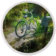Round Beach Towel featuring the photograph Raleio Bicycle by Craig J Satterlee