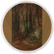 Ralph Albert Blakelock  1847  1919  Woodland Stream Round Beach Towel