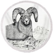 Round Beach Towel featuring the drawing Ram by Mayhem Mediums