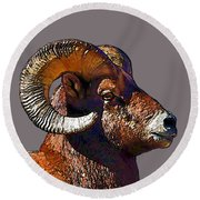 Round Beach Towel featuring the digital art  Ram Portrait - Rocky Mountain Bighorn Sheep By Olena Art by OLena Art Brand