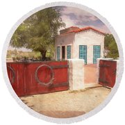Ranch Family Homestead Round Beach Towel