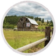 Ranch Fence And Barn With Hex Sign Round Beach Towel