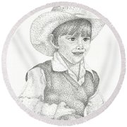Round Beach Towel featuring the drawing Ranch Hand by Mayhem Mediums