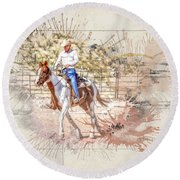 Ranch Rider Digital Art-b1 Round Beach Towel