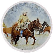 Ranch Rider Round Beach Towel