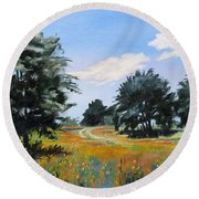 Ranch Road Near Bandera Texas Round Beach Towel