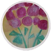 Round Beach Towel featuring the painting Randi's Roses by Kim Nelson