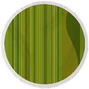 Random Stripes - Golden Green Round Beach Towel