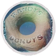 Randy's Donuts - Old Polaroid Round Beach Towel