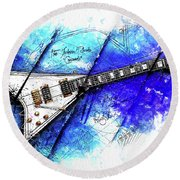 Randy's Guitar On Blue II Round Beach Towel