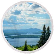 Round Beach Towel featuring the photograph Rangeley Height Of Land by Alana Ranney