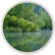 Round Beach Towel featuring the photograph Rankin Reflections 2 by Douglas Stucky