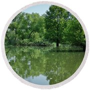 Round Beach Towel featuring the photograph Rankin Reflections 3 by Douglas Stucky