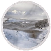 Round Beach Towel featuring the photograph  Rannoch Moor Winter by Grant Glendinning