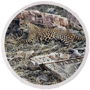 Round Beach Towel featuring the painting Ranthambore Apparition by Alan M Hunt