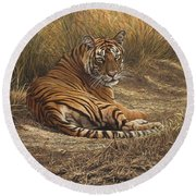 Ranthambore Roadblock Round Beach Towel