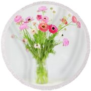 Ranunculus And Anemones Painterly Round Beach Towel