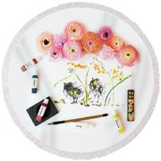 Ranunculus With First Watercolor Round Beach Towel