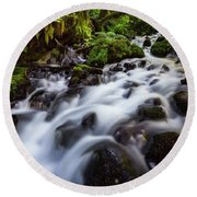 Rapids On Wahkeena Creek Round Beach Towel