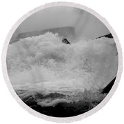 Round Beach Towel featuring the photograph Rapids  by Raymond Earley