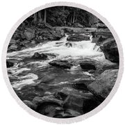 Rapids Through The Forest Bw Round Beach Towel