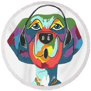 Rapping Rover - Funny  Dog Round Beach Towel