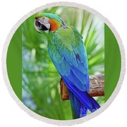 Rapsody In Blue Round Beach Towel by Larry Nieland