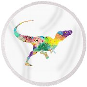 Raptor 2 Dinosaur Watercolor Round Beach Towel