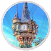 Round Beach Towel featuring the photograph Rapunzel Castle Tower by Mark Andrew Thomas