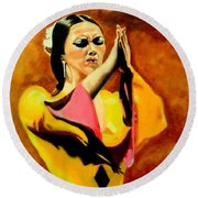 Raquel Heredia - Flamenco Dancer Sold Round Beach Towel