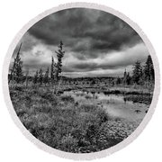 Round Beach Towel featuring the photograph Raquette Lake Bog by David Patterson