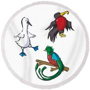 Rare Old Birds Round Beach Towel