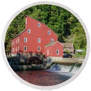 Rariton River And The Red Mill - Clinton New Jersey Round Beach Towel by Bill Cannon
