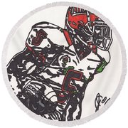 Round Beach Towel featuring the drawing Rashard Mendenhall 1 by Jeremiah Colley
