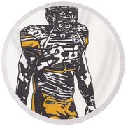 Round Beach Towel featuring the drawing Rashard Mendenhall 2 by Jeremiah Colley