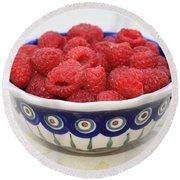 Raspberries In Polish Pottery Bowl  Round Beach Towel by Carol Groenen