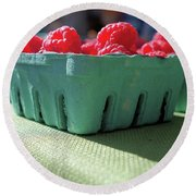 Round Beach Towel featuring the photograph Raspberries In The Sun by John S