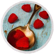 Raspberries With Antique Spoon Round Beach Towel by Garry Gay
