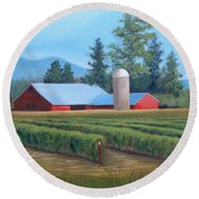 Raspberry Fields Forever Round Beach Towel by Phyllis Howard