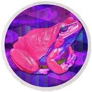 Raspberry Frog Round Beach Towel