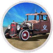 Round Beach Towel featuring the photograph Rat Rod On Beach 3 by Mike McGlothlen