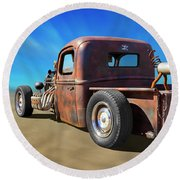 Round Beach Towel featuring the photograph Rat Truck On Beach 2 by Mike McGlothlen