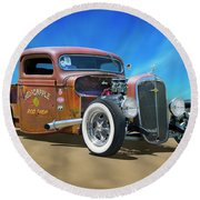Round Beach Towel featuring the photograph Rat Truck On The Beach by Mike McGlothlen