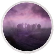 Rave In The Grave Round Beach Towel