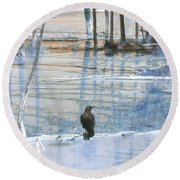 Raven About The Yellowstone Round Beach Towel by Ann Johndro-Collins