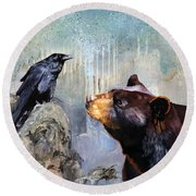 Raven And The Bear Round Beach Towel