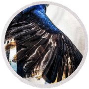 Round Beach Towel featuring the photograph Raven Attitude by Carolyn Marshall