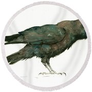 Raven Bird Round Beach Towel